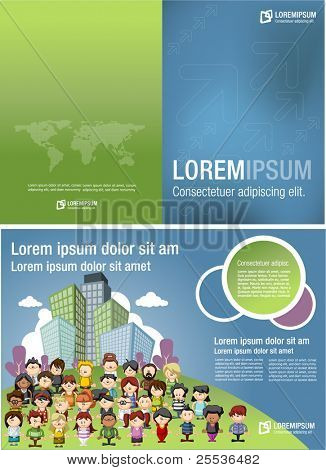 Blue and green template for advertising brochure with cartoon people on the city