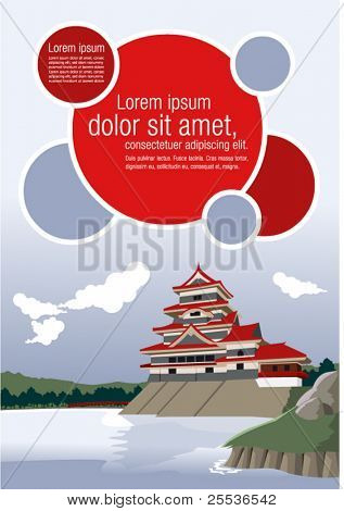 Colorful template of the Matsumoto Castle in Japan.