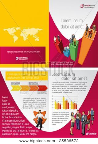 Pink and yellow template for advertising brochure with business people
