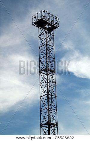 Industrial High-altitude Platform On Blue Sky Background