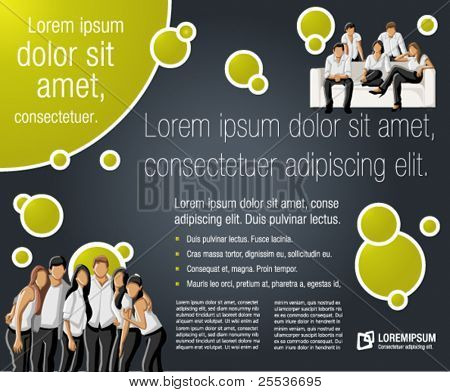Green lime and black template for advertising brochure with a group of people
