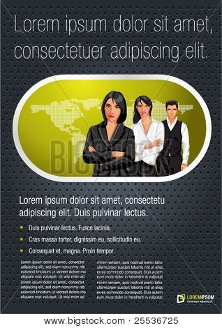 Green lime and black template for advertising brochure with a group of business people