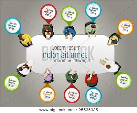 Group of business people working in office table with colorful pointers. Vector label.