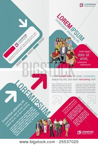 Green and pink template for advertising brochure with business people