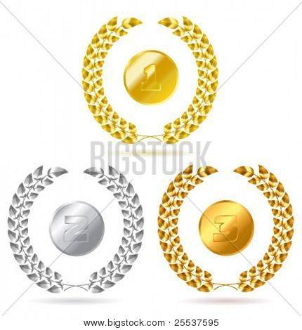 Vector gold, silver and bronze laurel wreath. Detailed portrayal.