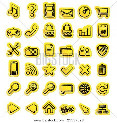 Vector set of hand written sticker web icons.