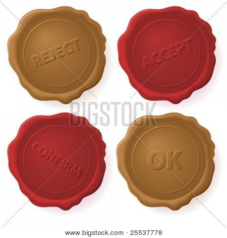 Vector red and brown wax seals