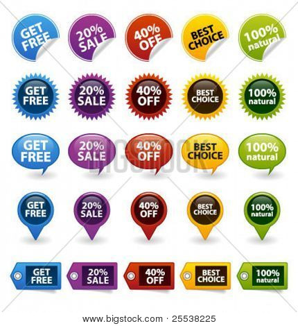 Colorful vector badges and tags