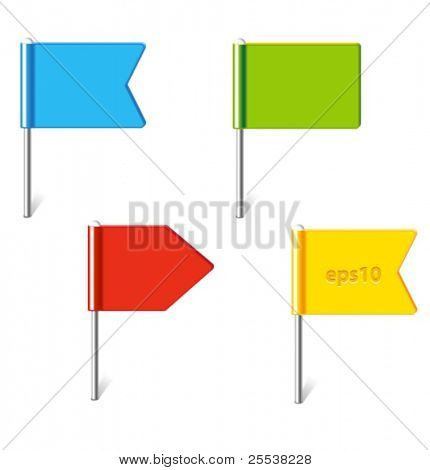 Vector set of colorful flag pins