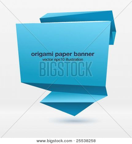 Origami paper banner for you design. Vector.
