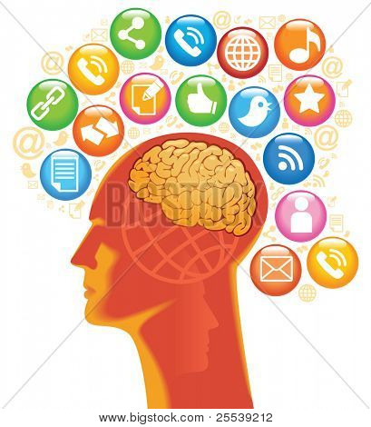 Social-Media-Head. The development of global communications