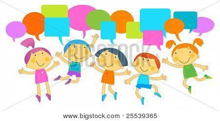 Children Speech Bubble.cheerful, stylish children in motion