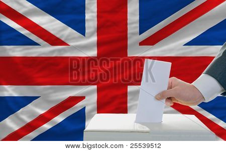 Man Voting On Elections In Great Britain