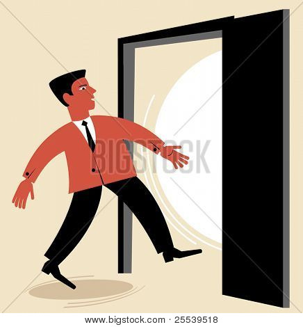 man goes through the open door.figure business concept