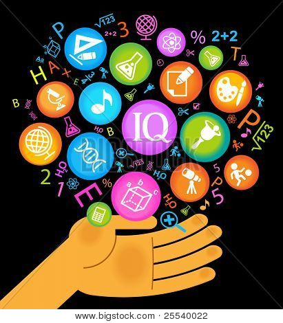 hand holds icons school science