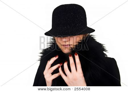 Incognito Woman In Black Hat On White Background