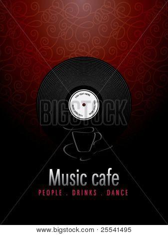 Music cafe, menu design.