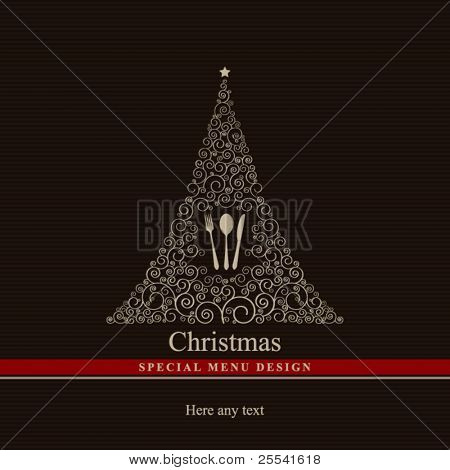 Vector. Special Christmas menu design.