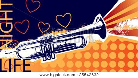Music background with trumpet. Vector illustration.