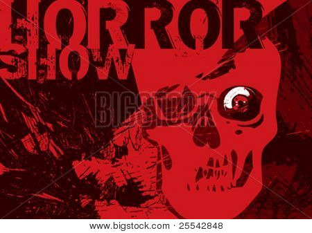 Scary poster with skull. Vector illustration.