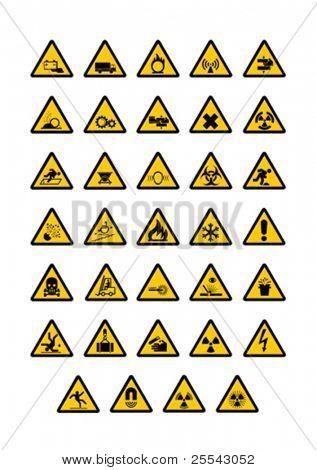 Warning pictogram on white background. Vector illustration.