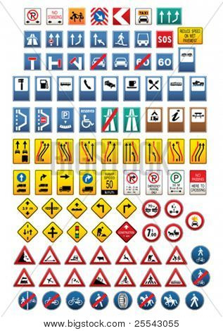 Set of traffic signs. Vector illustration.