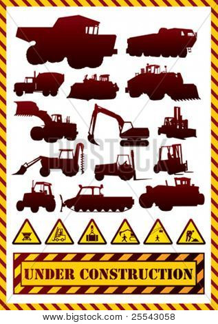 Construction machinery silhouettes. Vector illustration.