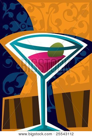 Cocktail with abstract elements. Vector illustration.