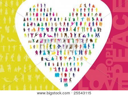 Colored people silhouettes background. Vector illustration.