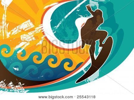 Artistic retro surfing poster. Vector illustration.