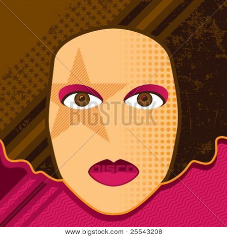 Disco girl retro background. Vector illustration.