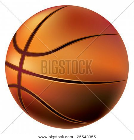 Isolated basketball ball on white. Vector illustration.