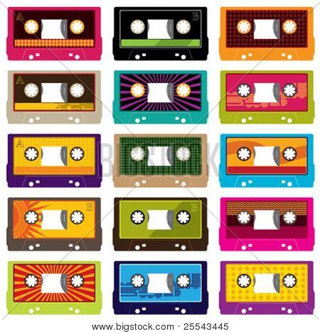 Audio cassettes isolated on white. Vector illustration.
