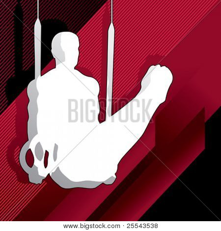 Silhouette of gymnastic man. Vector illustration.