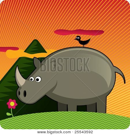 Tropical background with rhinoceros. Vector illustration.
