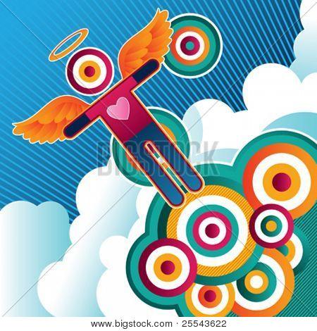 Funny retro colored banner. Vector illustration.
