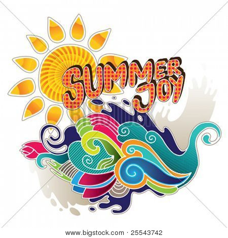 Artistic summer banner with abstract shapes. Vector illustration.