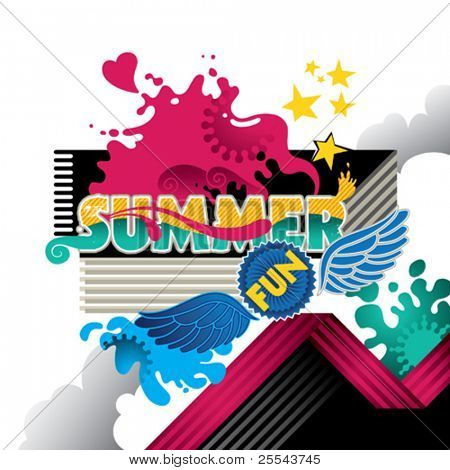 Designed abstract summer fun banner. Vector illustration.