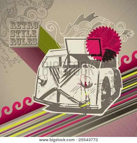 Conceptual designed artistic retro background. Vector illustration.