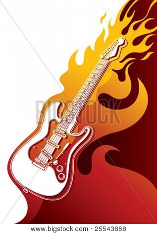 Electric guitar banner with stylized fire. Vector illustration.