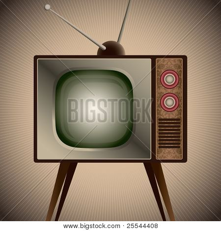 Illustration of retro television set. Vector illustration.