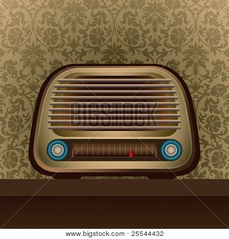 Illustrated old radio with floral background. Vector illustration.