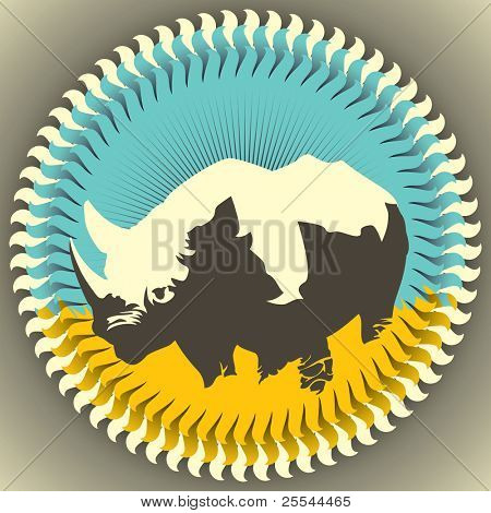 Stylized artistic illustration of rhinoceros. Vector illustration.