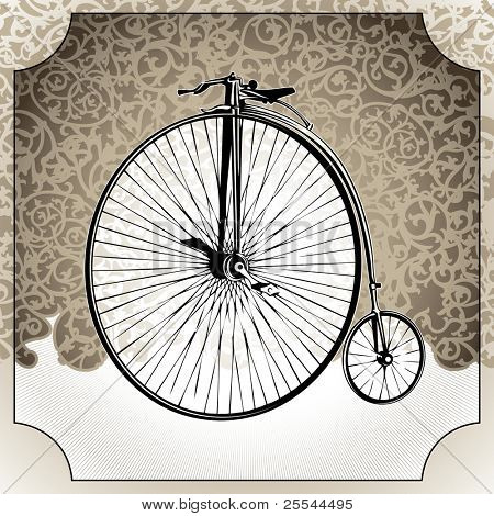 Illustrated vintage background with old bicycle. Vector illustration.