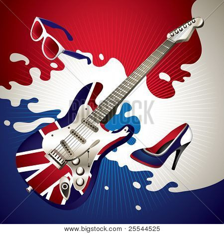 Stylish background with electric guitar. Vector illustration.