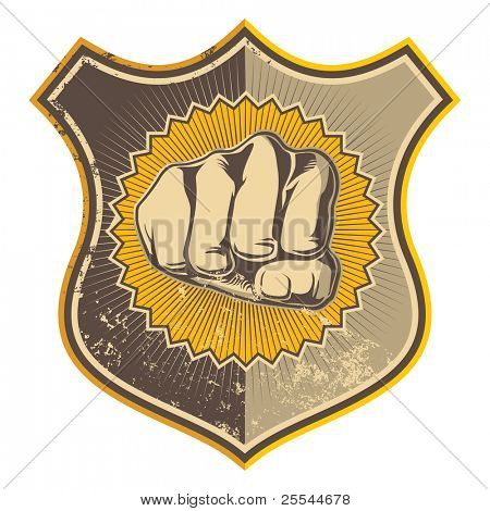 Grunge crest with stylized fist. Vector illustration.