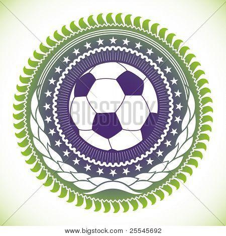 Illustrated modish football emblem. Vector illustration.