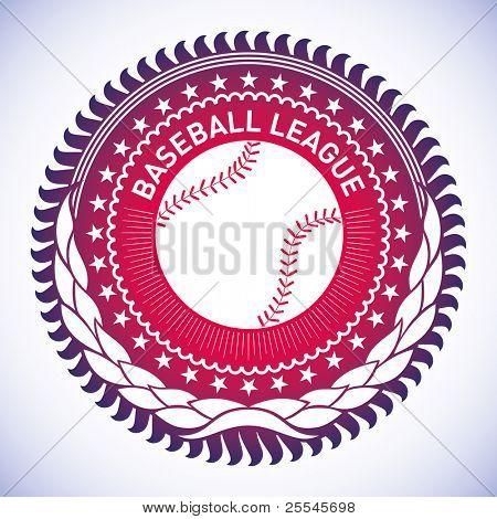 Emblema beisebol modish ilustrado. Ilustração vetorial.