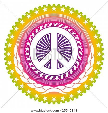 Modish emblem with peace symbol. Vector illustration.