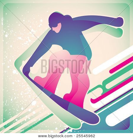 Illustrated snowboarding poster. Vector illustration.